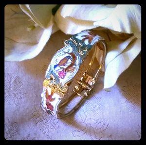Vintage White Enamel Cloisonne Clamper Bracelet
